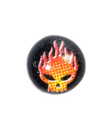 Blue Banana Surgical Steel 5mm Flaming Skull Dermal Top (Black)