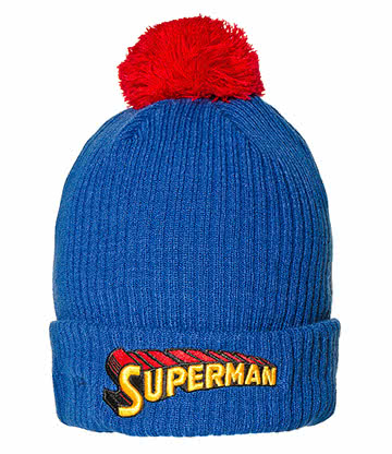 DC Comics Superman Bonnet A Pompon (Bleu/Rouge)