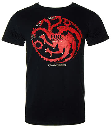 Game Of Thrones Fire & Blood T Shirt (Black)