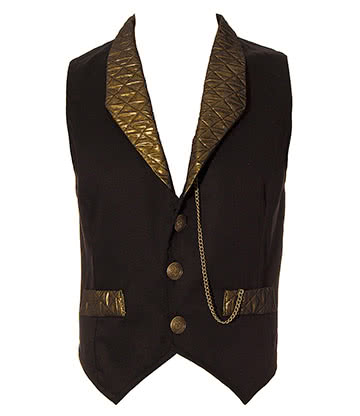 Golden Steampunk Duke Quilted Waistcoat (Black/Gold)