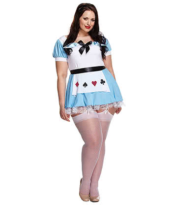 Alice Plus Size Fancy Dress Costume (Blue/White)