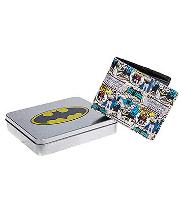 DC Comics Batman & Robin Wallet with Embossed Tin (Multicoloured)