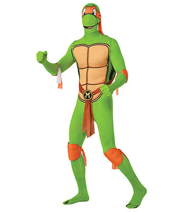 Rubies Second Skin Michelangelo Teenage Mutant Ninja Turtles Jumpsuit (Green/Orange)