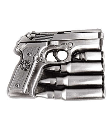 Blue Banana Gun & Bullets Belt Buckle