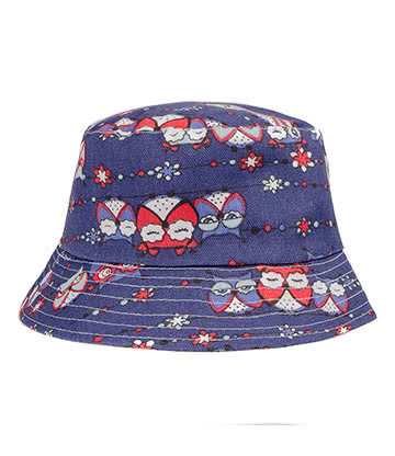 Blue Banana Owls Canvas Bucket Hat (Blue)