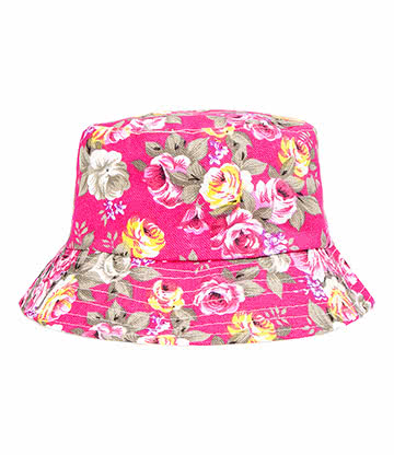 Blue Banana Flowers Canvas Bucket Hat (Pink)