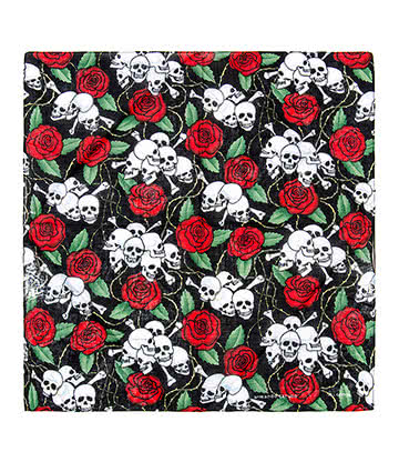 Blue Banana Skull & Rose Bandana