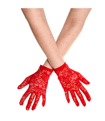 Blue Banana Short Flower Lace Glove (Red)