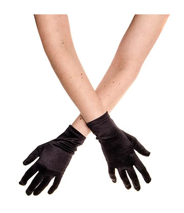 Blue Banana Short Satin Gloves (Black)