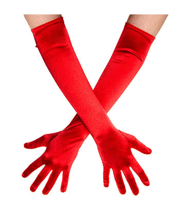 Blue Banana Long Satin Gloves (Red)