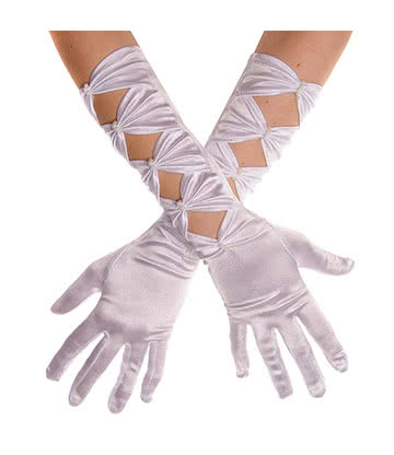 Blue Banana Long Satin & Pearls Gloves (White)
