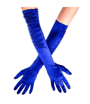 Blue Banana Long Rouched Satin Gloves (Blue)