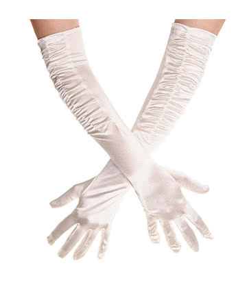 Blue Banana Long Rouched Satin Gloves (Ivory)