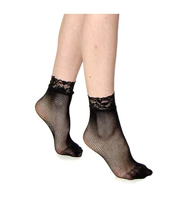 Blue Banana Small Net Fishnet Socks (Black)