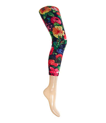 Blue Banana Flower Leggings (Black)