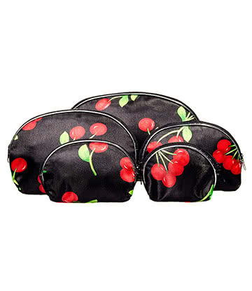 Blue Banana 5pc Make Up Bag Set (Cherries)