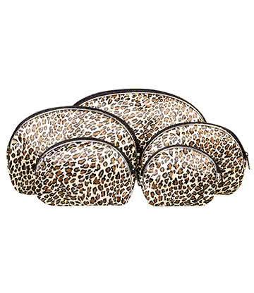 Blue Banana 5pc Leopard Print Make Up Bag Set