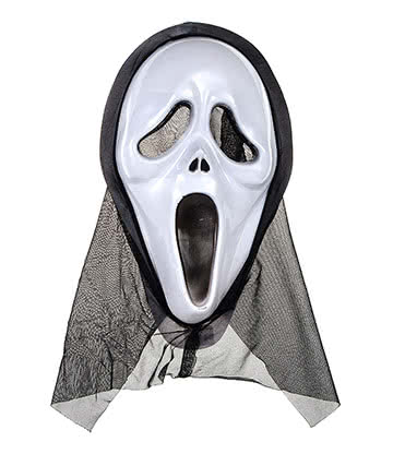 Blue Banana Screaming Mask Fancy Dress (White/Black)