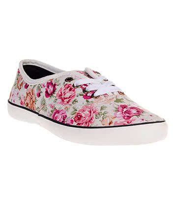 Bleeding Heart Rose Print Canvas Shoes (Cream/Pink)