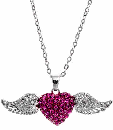 Winged Heart Necklace (Pink)