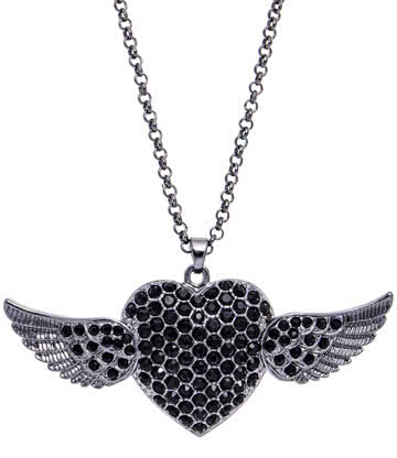 Large Winged Heart Necklace (Multi)