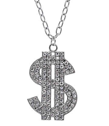 Dollar Sign Ball & Chain Necklace (Silver)