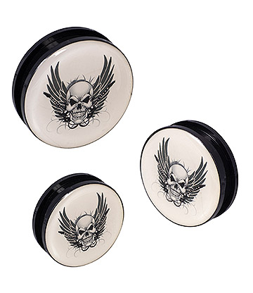 Blue Banana Acrylic Skull Wings Ear Plug 26-36mm (White)