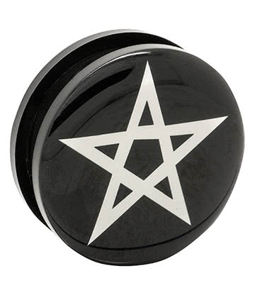 Blue Banana Acrylic Pentagram Ear Plug 26-36mm (Black/White)