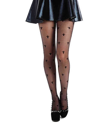 Pamela Mann Sheer Cross Plus Size Tights (Black)
