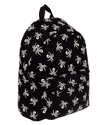 Bleeding Heart Skull & Bones Backpack (Black/White)