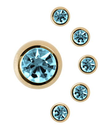 Plasma Gold Jewelled 3mm Ball Blue Banana Body Piercing (Acquamarina)