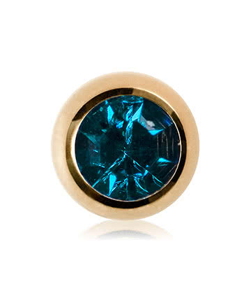 Blue Banana Plasma Gold 3mm Jewelled Ball (Aqua)