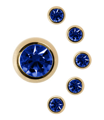 Jewelled Ball Plasma Gold 3mm (Calibro/Spessore) Blue Banana Body Piercing (Capri)
