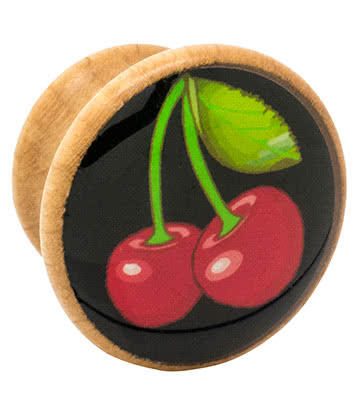 Blue Banana Wood Cherries Ear Plug 8-18mm (Black)