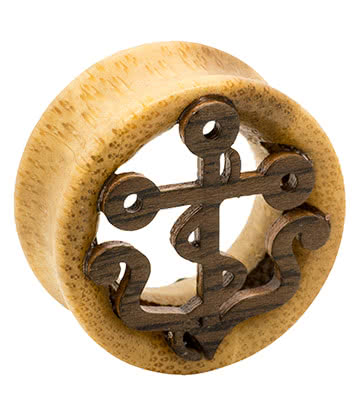 Blue Banana Wood Anchor Flesh Tunnel 24-28mm (Brown)