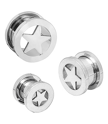 Blue Banana Surgical Steel Star Ear Tunnel 6-14mm (Silver)