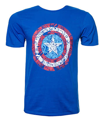 Marvel Comics Captain America Logo T Shirt (Blue)