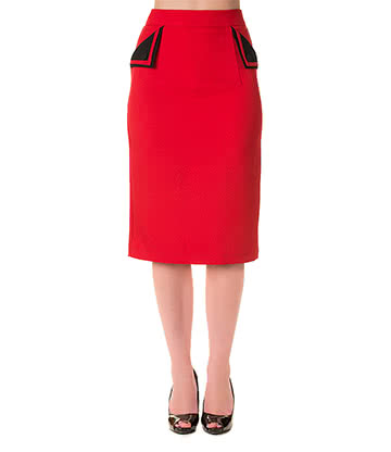 Banned Tori Pencil Skirt (Red/Black)
