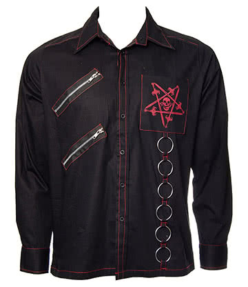Dead Threads Pentagram Long Sleeve Shirt (Black/Red)