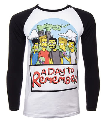 Official A Day To Remember Simpsons Baseball Tee (Multicoloured)